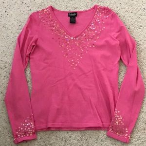 Pink V neck long sleeve blouse with sequins